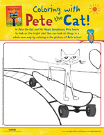 Pete the Cat and His Magic Sunglasses: Coloring