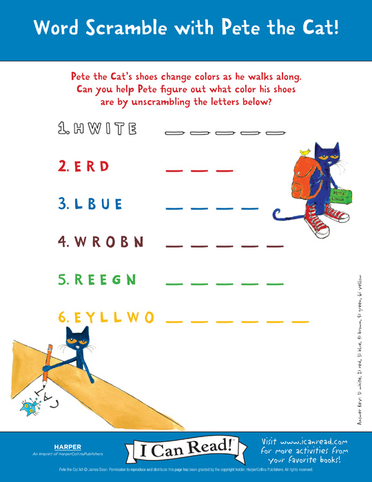 pete the cat word scramble