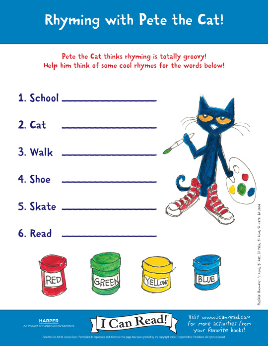 pete the cat rhyming