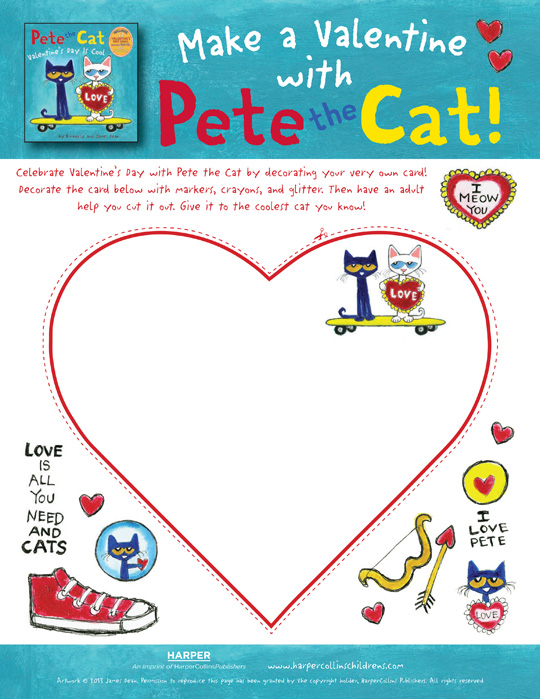 pete the cat valentines day is cool card