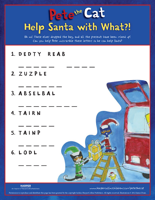 Pete the Cat Saves Christmas: Word Scramble