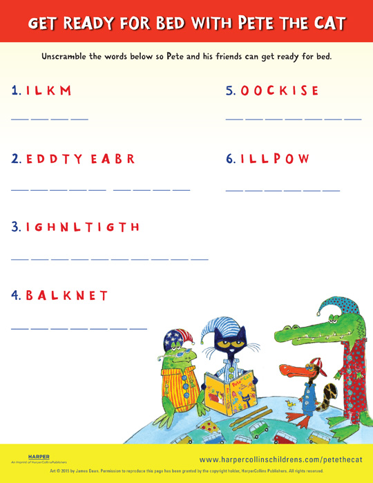 pete the cat and the bedtime blues word scramble
