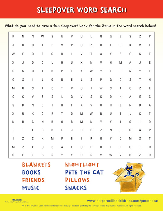Pete the Cat and the Bedtime Blues: Word Search