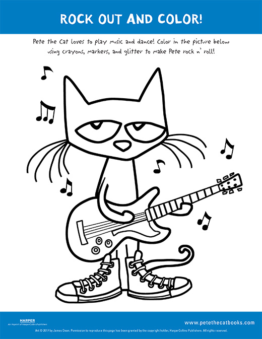 Rock out and color with pete the cat pete the cat for Pete the cat coloring page