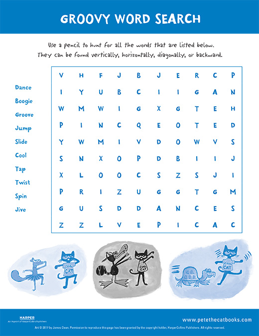 Pete the Cat's Groovy Word Search